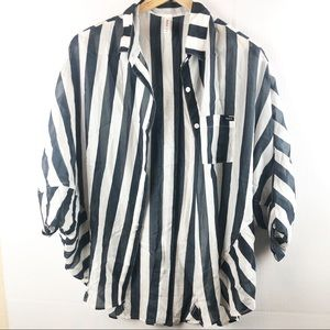 RVCA White Navy Stripe Med Semi Sheer Silk Blend M